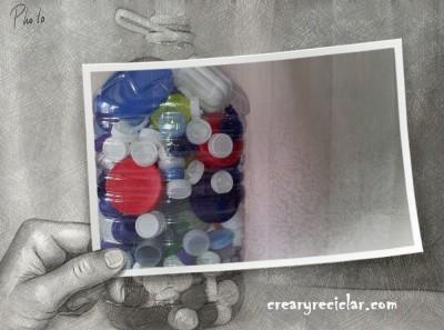 Cómo hacer un contenedor para almacenar tapas de plástico de diferentes tamaños, para llevarlas al contenedor de reciclaje