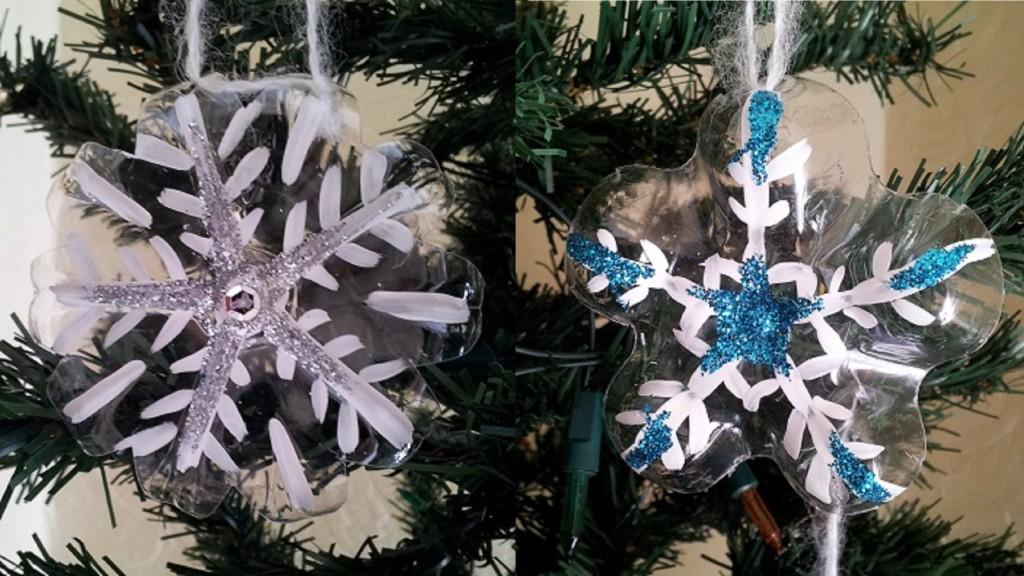 copos de nieve Ideas para Navidad con botellas de plástico