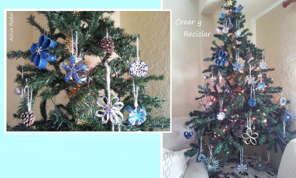 Cómo decorar el arbol de Navidad con material reciclado