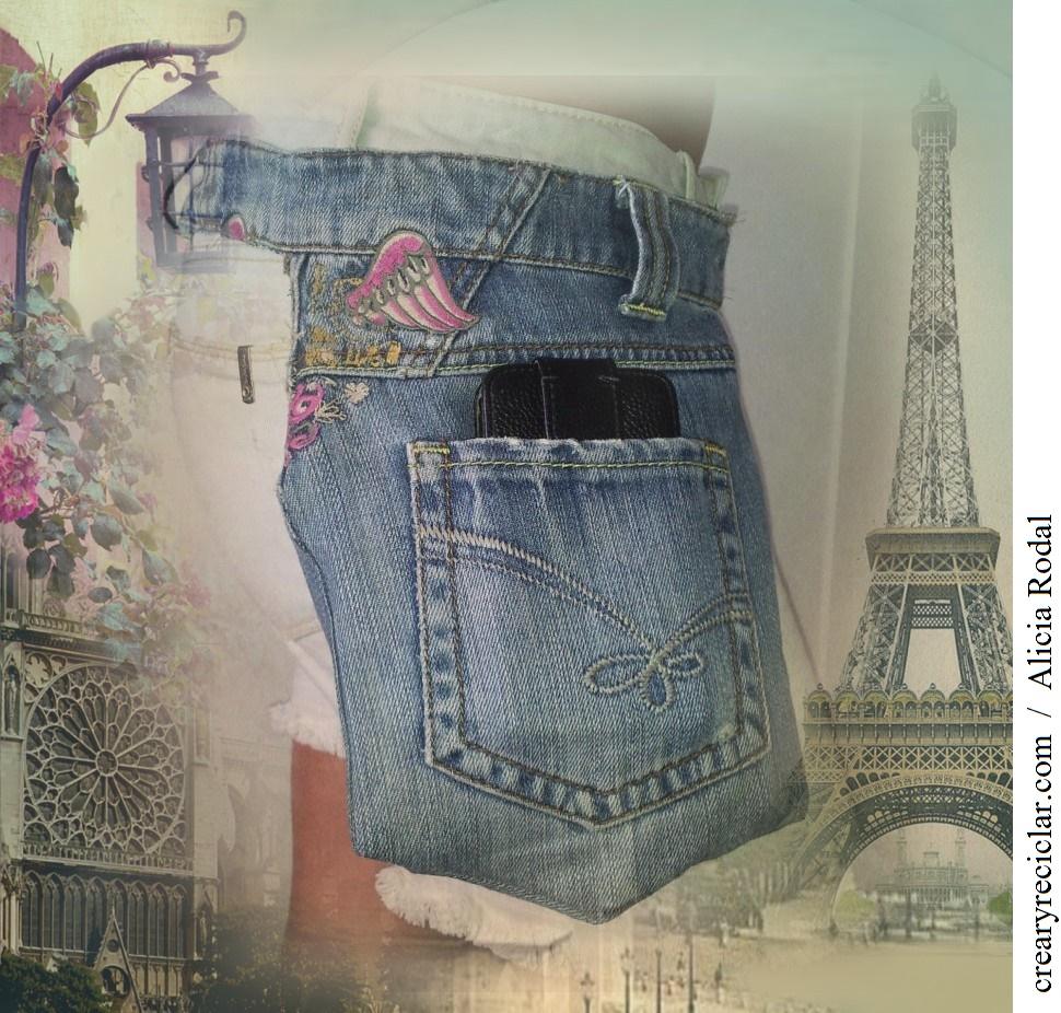 Paso a paso de cómo transformar un pantalón vaquero o blue jeans en un bolso pequeño, práctico bolsillo portátil, bolsillo doble, koala, canguro, riñonera.