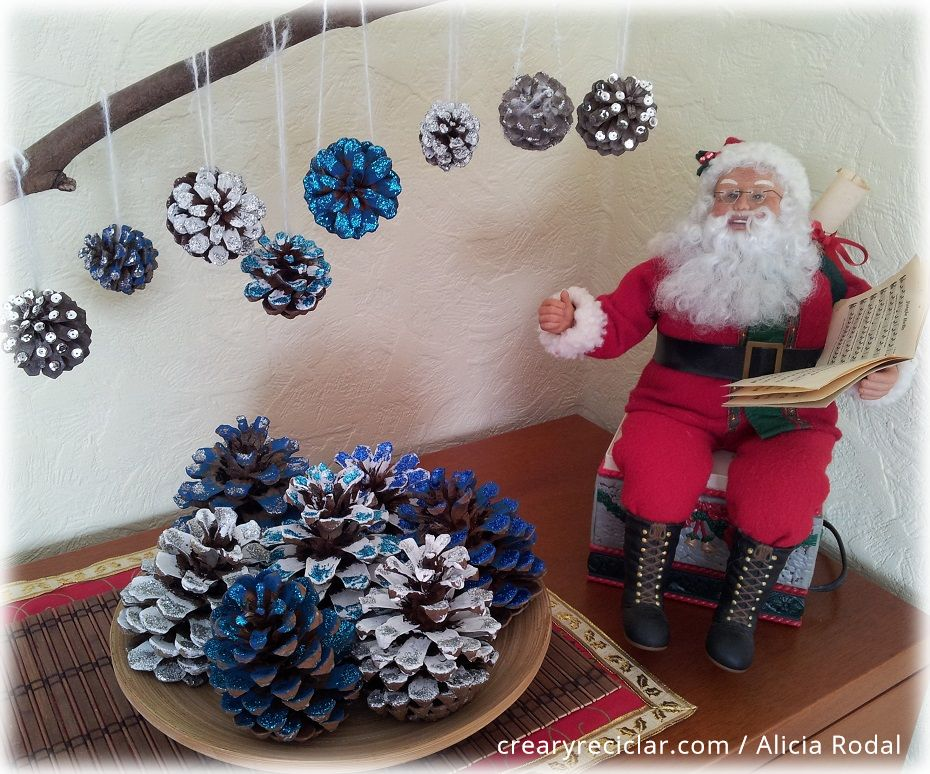 Ideas para navidad con pi as de pino crear y reciclar - Pinas decoradas para navidad ...