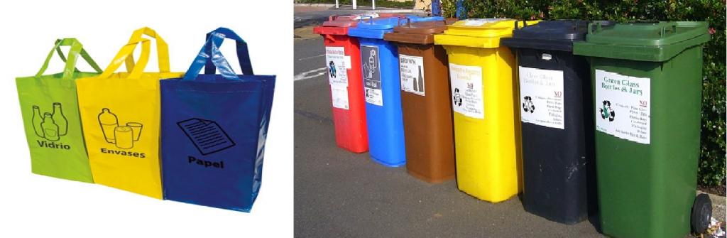 bolsas separa y contenedores para reciclar