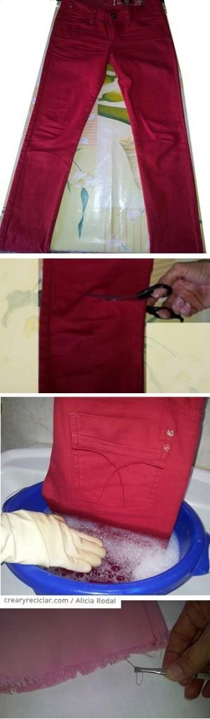 Paso a paso de cómo transformar un pantalón vaquero o blue jeans sin coser y muy fácil.