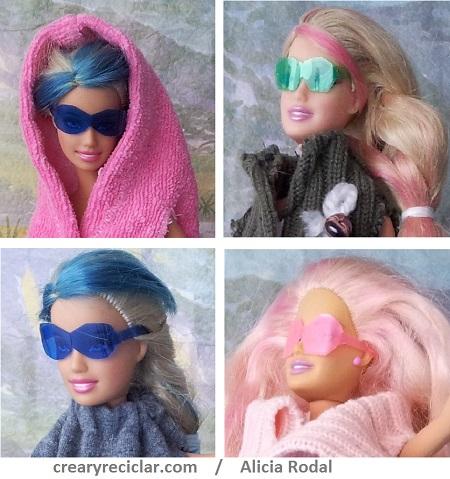gafas de sol para muñecas con botellas de plástico. reciclaje