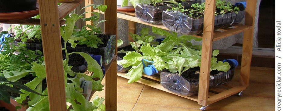 Huerta vertical giratoria en casa