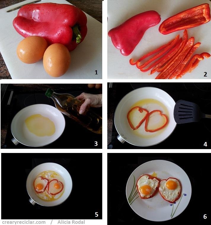paso a paso cómo hacer huevos fritos con forma de corazón