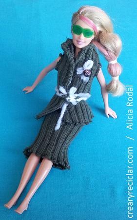 ropa muñecas, conjunto jersey verde