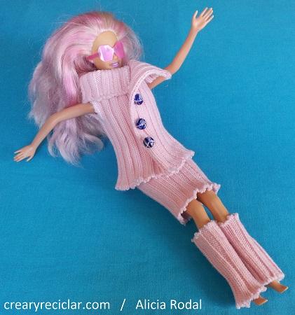 ropa para muñecas, conjunto de tejido de punto rosa