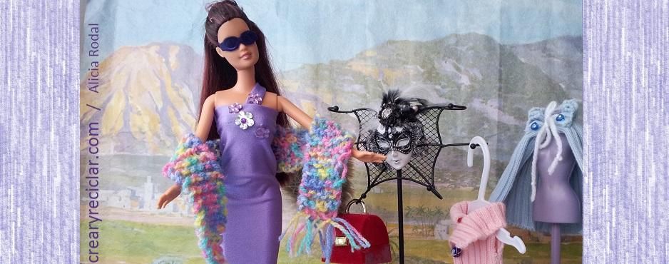 vestido reciclado de muñeca  de una manga