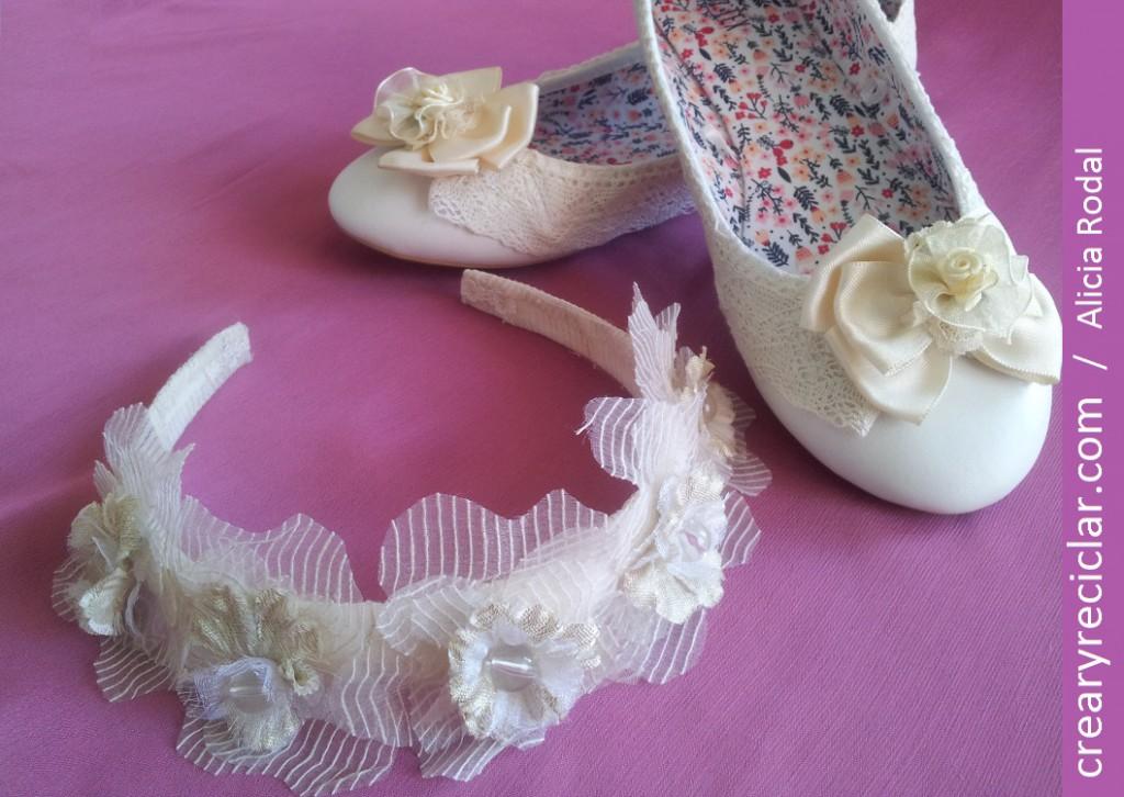 zapatos y diadema o cintillo comunión