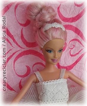 diadema vestido comunion muñeca