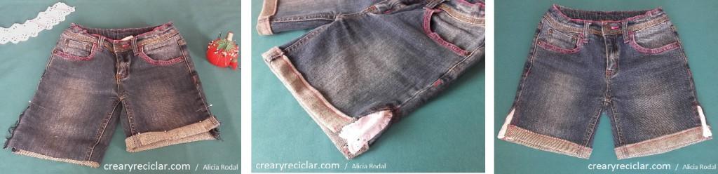pantalón vaquero short cortar y coser