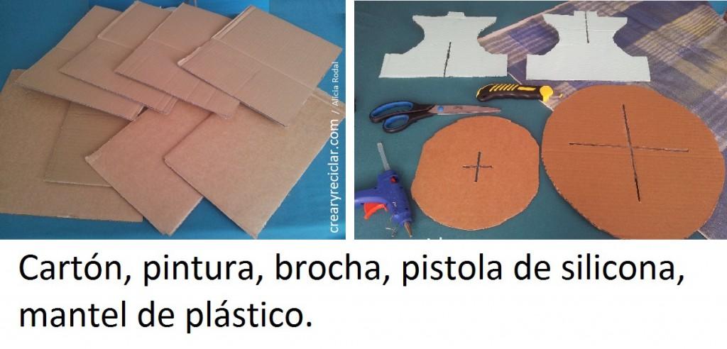 materiales pedestal de carton 2 niveles