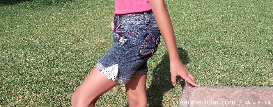 vaquero blue jeans corto short