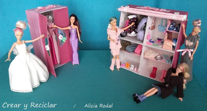 armarios para muñecas con cajas de carton y materiales reciclados