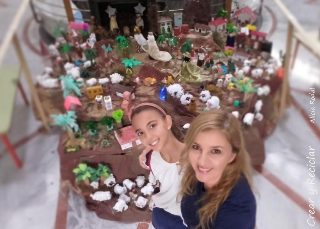 Estas figuras de Melchor, Gaspar y Baltasar, las hicimos mi hija y yo con material reciclado para el Portal de Belén de su colegio