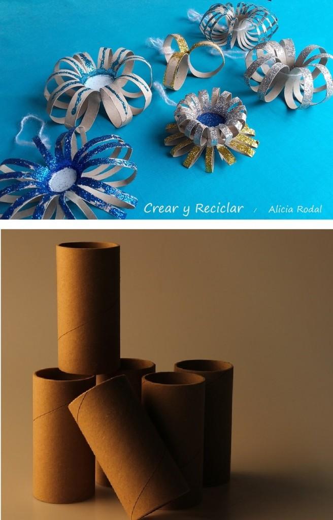 flores con tubos de cartón de papel de baño
