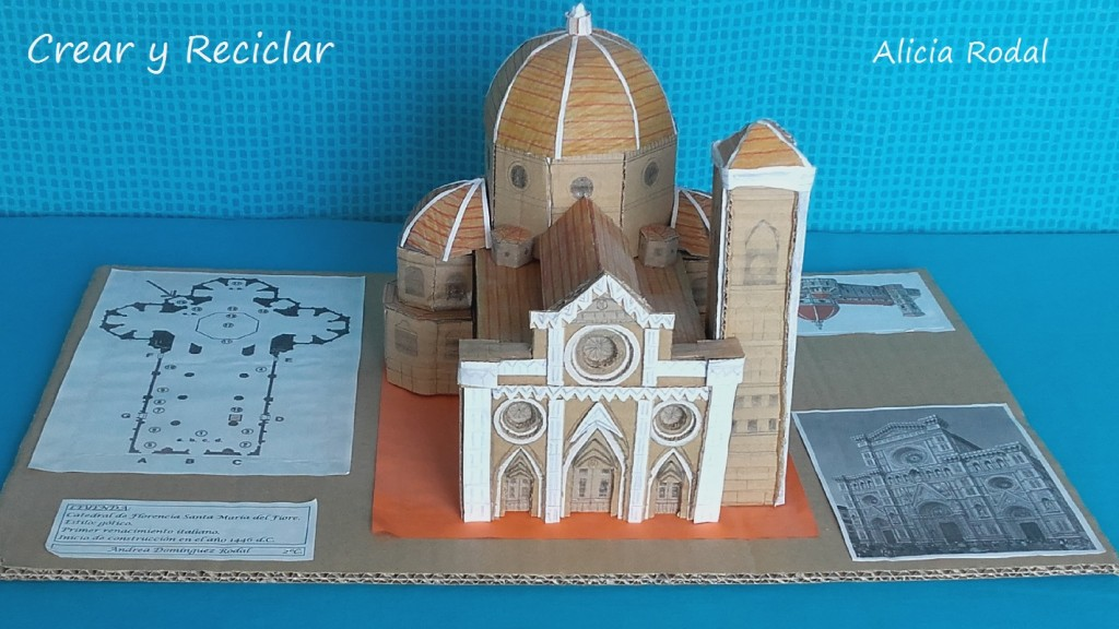 Cómo hacer una maqueta de la Catedral de Florencia para el colegio, con material reciclado, principalmente cartón, explicado paso a paso, materiales, medidas...