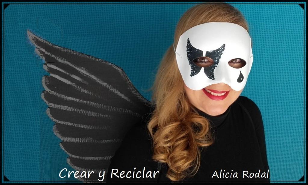 disfraz de angel caido o angel negro con reciclaje DIY