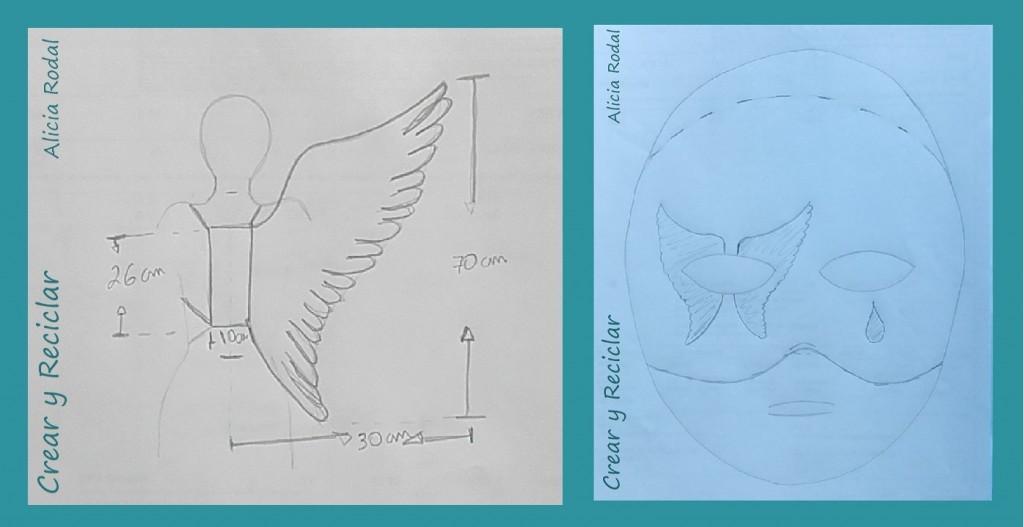 boceto ideas alas de cartón y antifaz