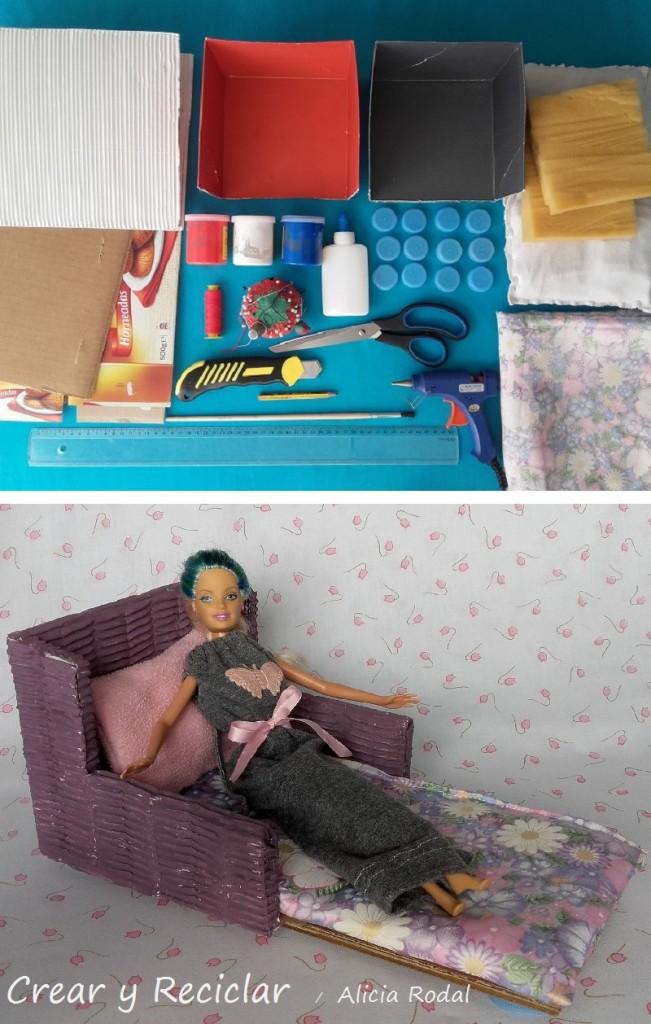 materiales reciclados para sofá cama de muñecas