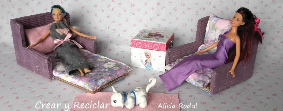 Sofá cama para muñecas con reciclaje