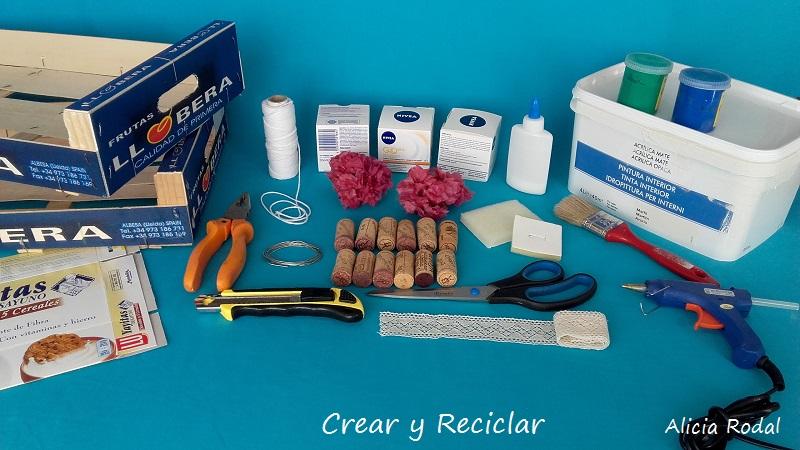 materiales para organizador de joyas con guacal