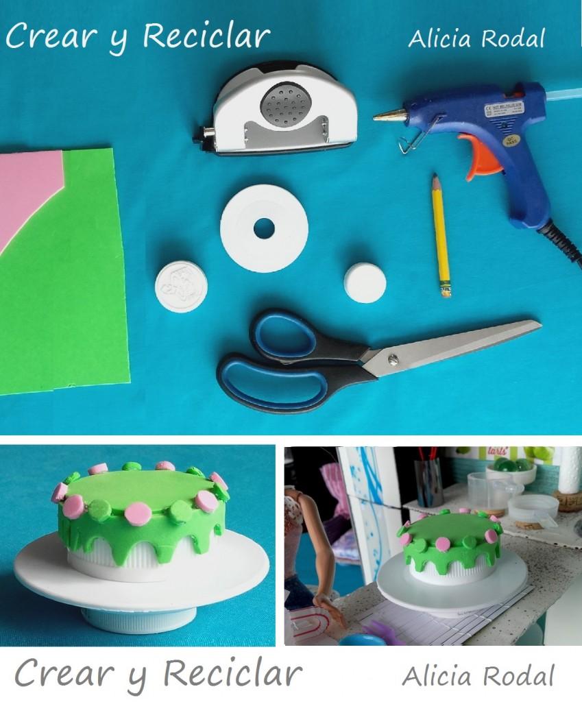 Tarta o pastel de muñecas con reciclaje DIY
