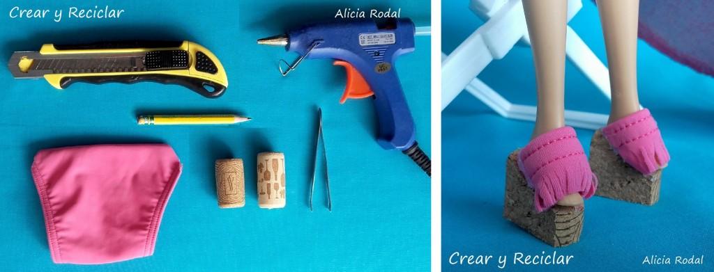 materiales para sandalias para muñecas con reciclaje