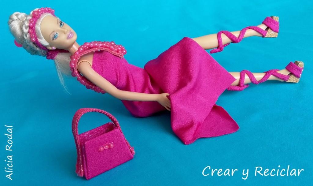 Vestido bolso diadema tocado sandalias para muñecas DIY