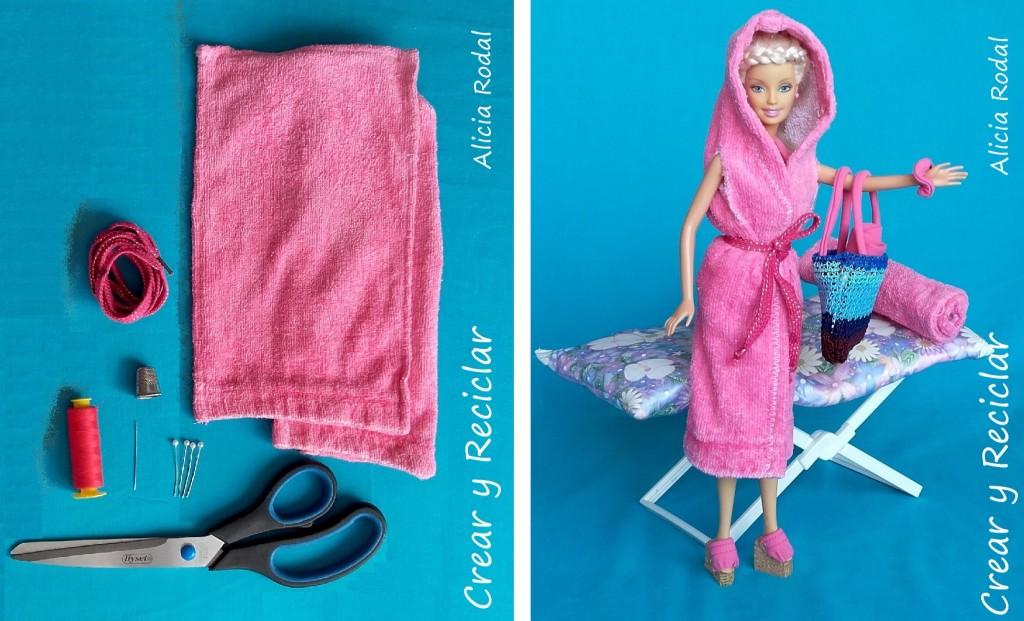materiales toalla y bata para muñecas con reciclaje