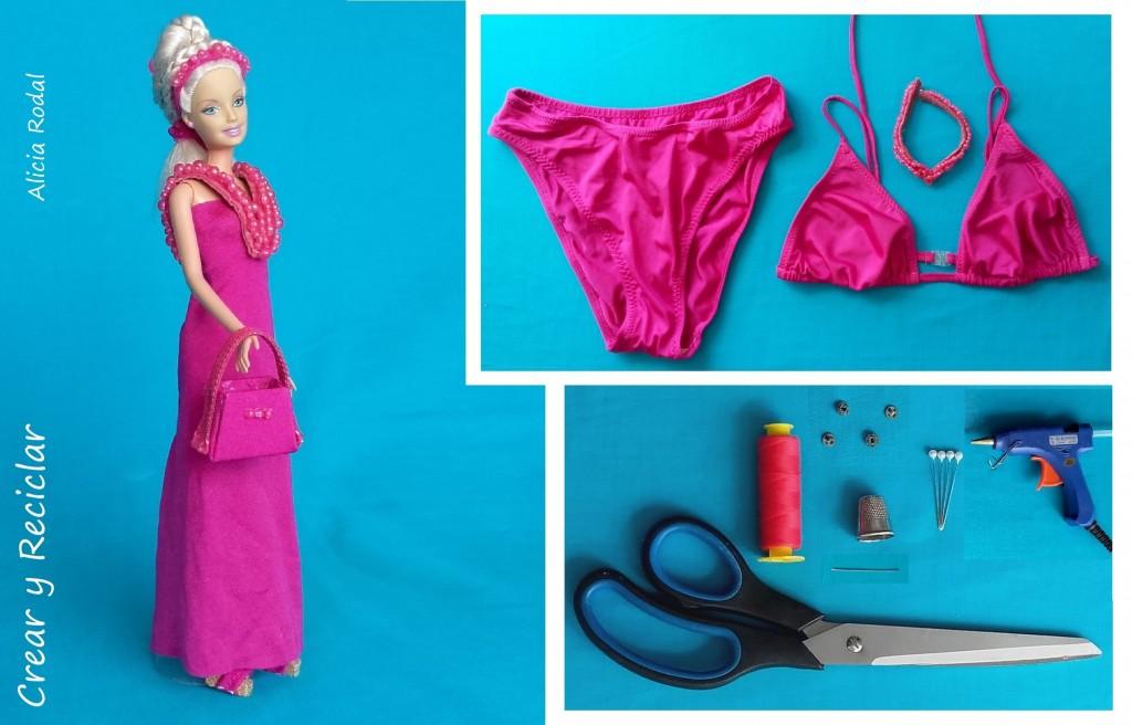Materiales vestido muñecas reciclaje DIY