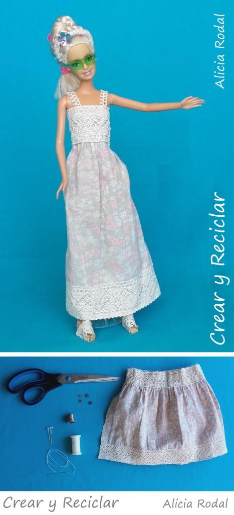 Materiales vestido muñecas con reciclaje DIY