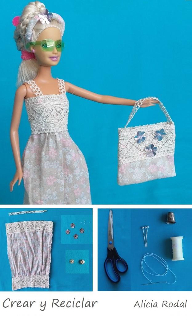 Bolso muñecas materiales reciclados DIY