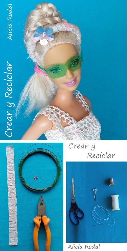Diadema cintillo tocado muñeca reciclaje DIY