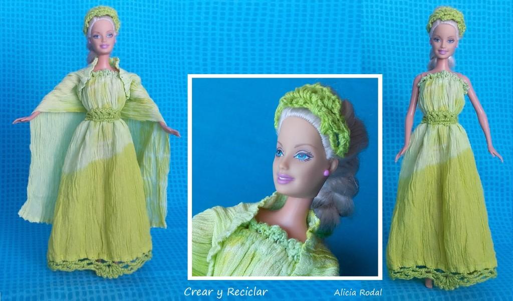 Vestido, capa y diadema o cintillo de muñecas DIY