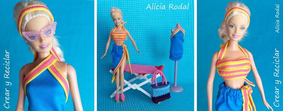vestido top y pareo para muñecas reutlizar bikini
