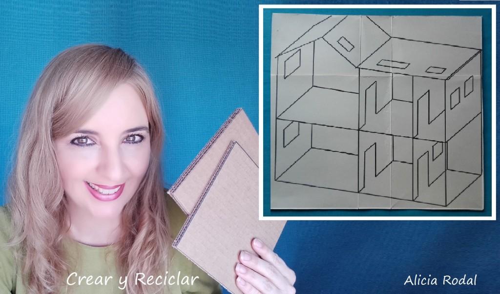 Casa de muñeca de cartón DIY