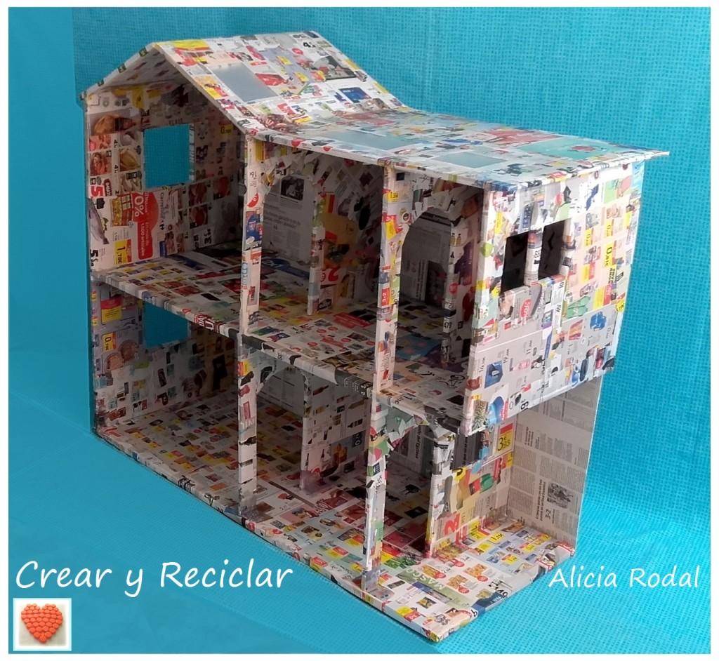 Casa de muñecas de cartón con cartapesta DIY