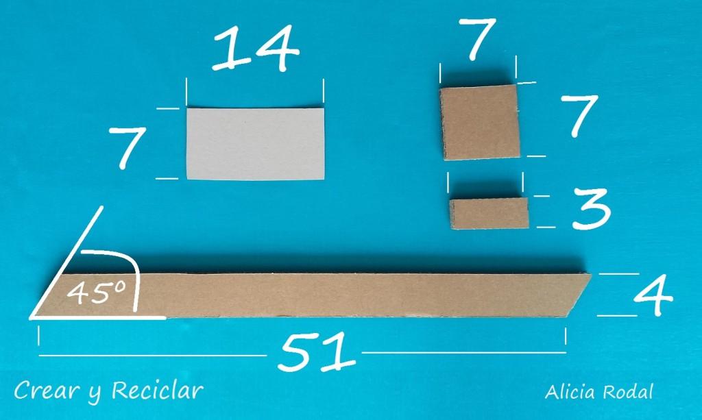 Medidas para Escalera de cartón para casa de muñecas DIY