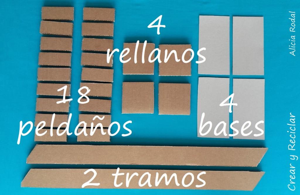 Piezas para Escalera de cartón para casa de muñecas DIY