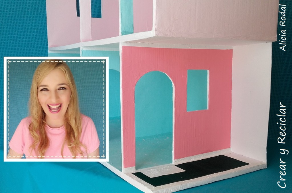 La entrada de la casa de muñecas de cartón DIY