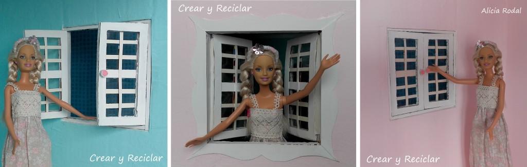 Cómo hacer una casa de muñecas con cajas de cartón y otros materiales reciclados. Ventanas