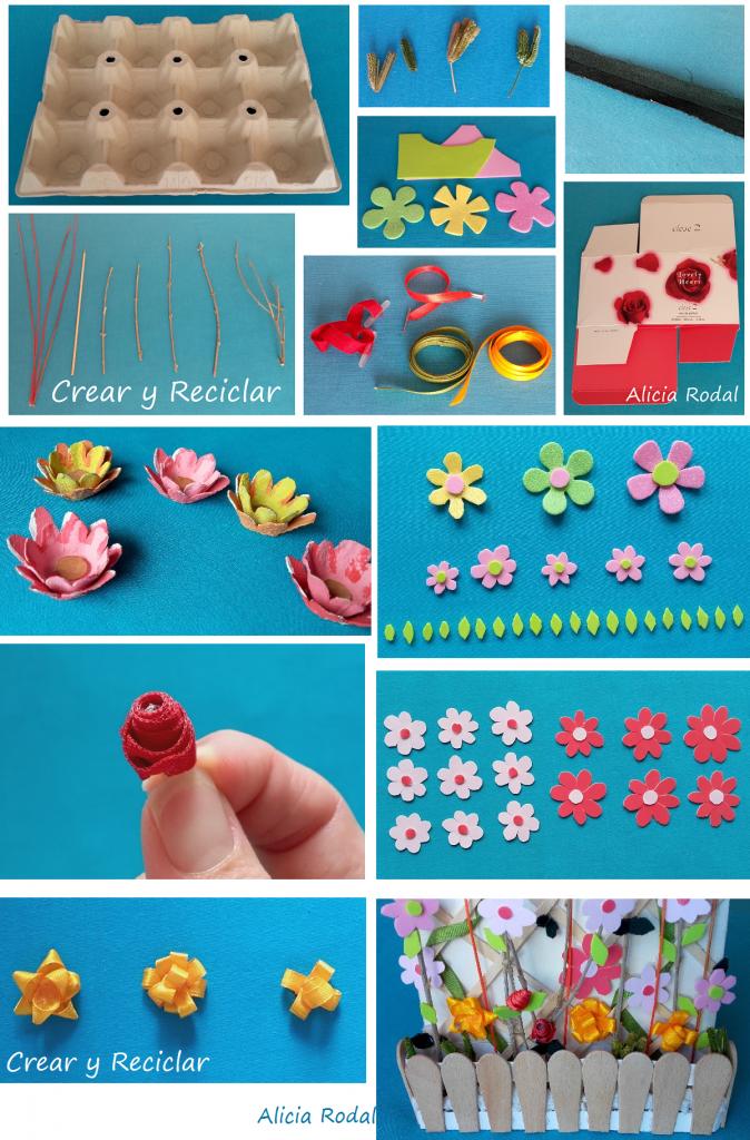 Materiales para jardinera y flores casa de muñecas DIY