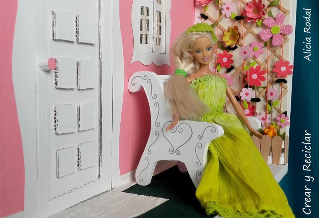 banco de jardín casa de muñecas DIY