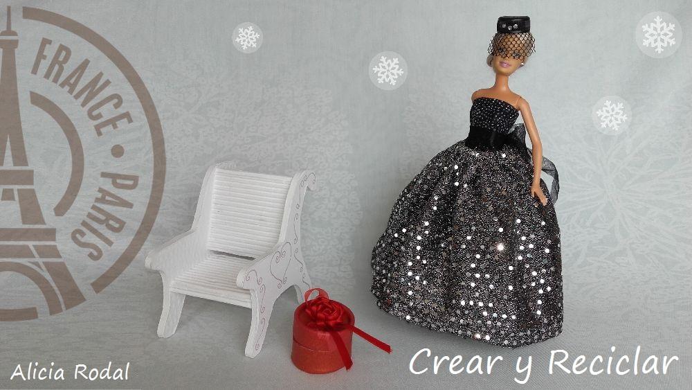 Vestido de gala fiesta navidad para muñecas DIY