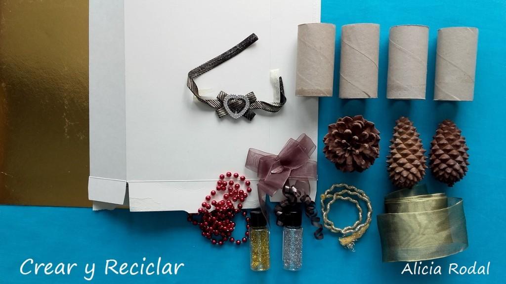 Materiales para Corona de Navidad con tubos de cartón DIY