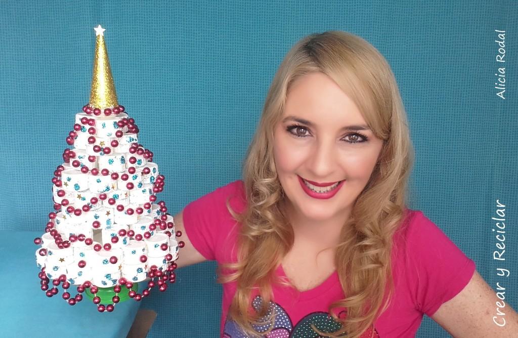 Mini arbolito de Navidad con tapas plástico DIY