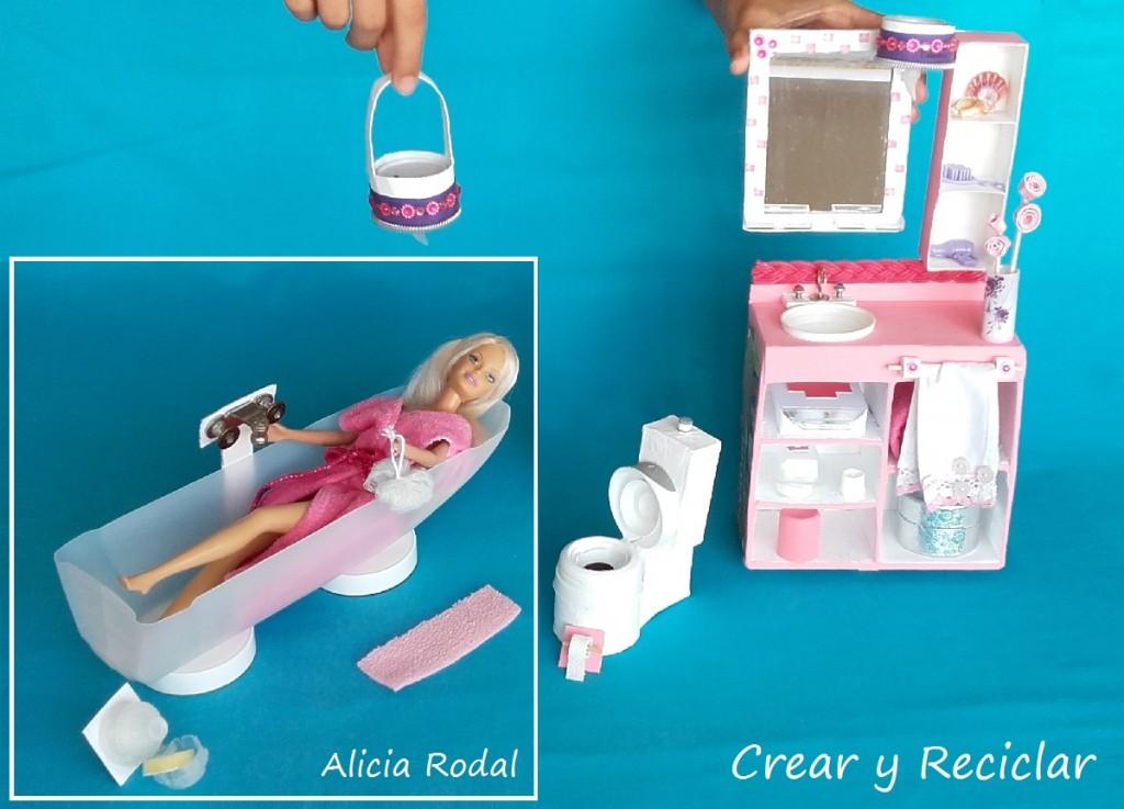 Baño de casa de muñecas con reciclaje DIY