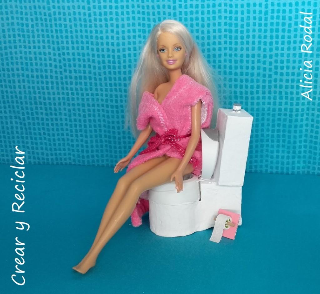 Inodoro Baño de casa de muñecas con reciclaje DIY